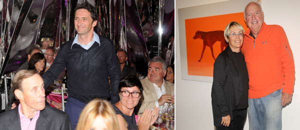 Left: Artist Xavier Veilhan. Right: Collectors Mera and Don Rubell.