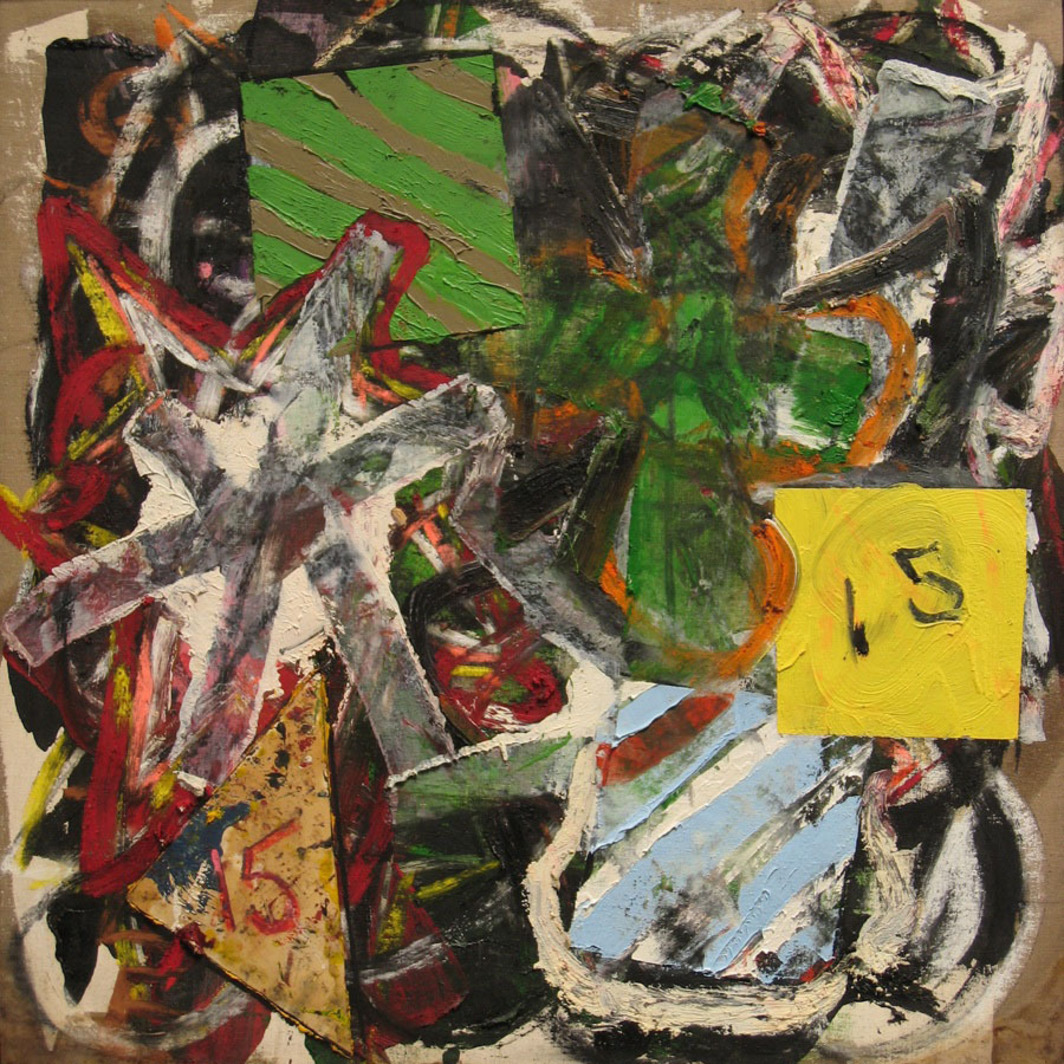 "Michael Goldberg, Bowery Days 30, 1993, oil, pastel, and collage on linen, 38 x 37""."