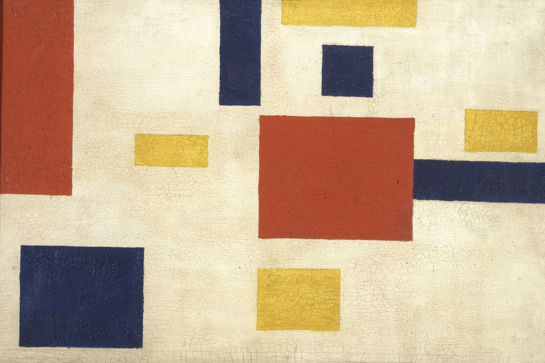 "De Stijl (Georges Vantongerloo), Composition, 1917-1918, oil on canvas, 8 x 10""."