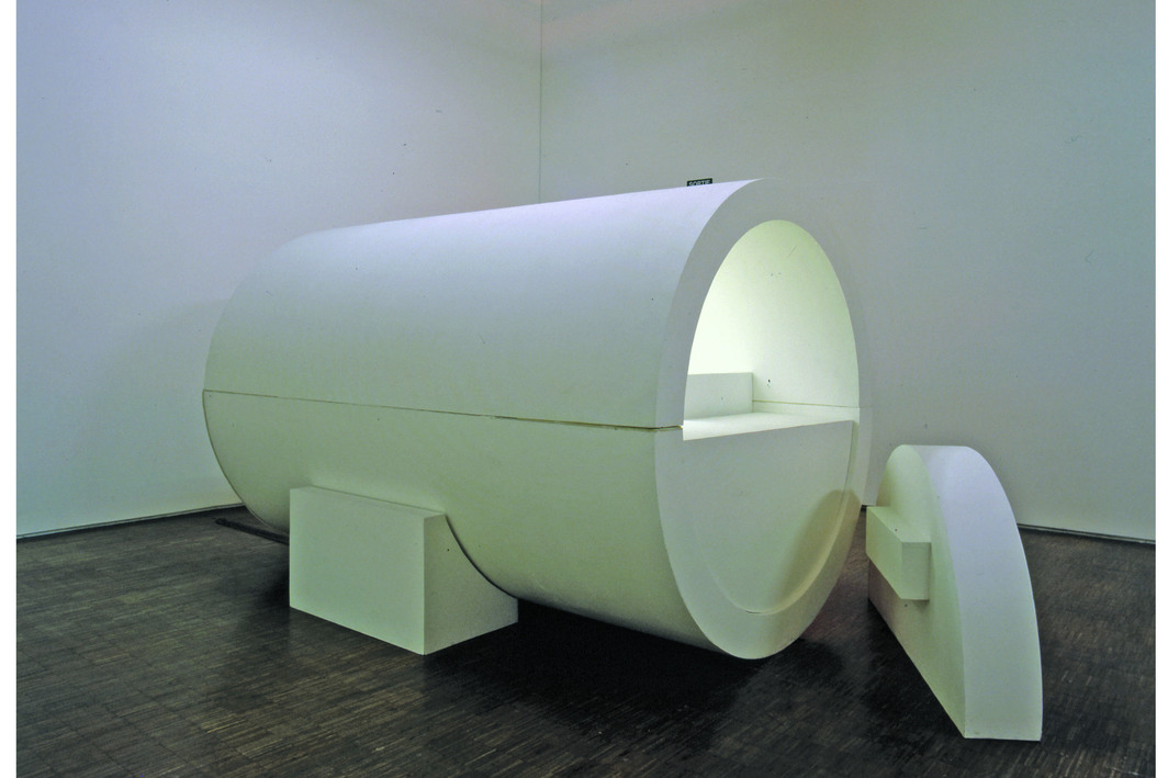 "Absalon, Cell nº 5, 1991, wood, cardboard, paint, neon, Perspex, 11' 6"" x  7' 1"" x 1' 7""."