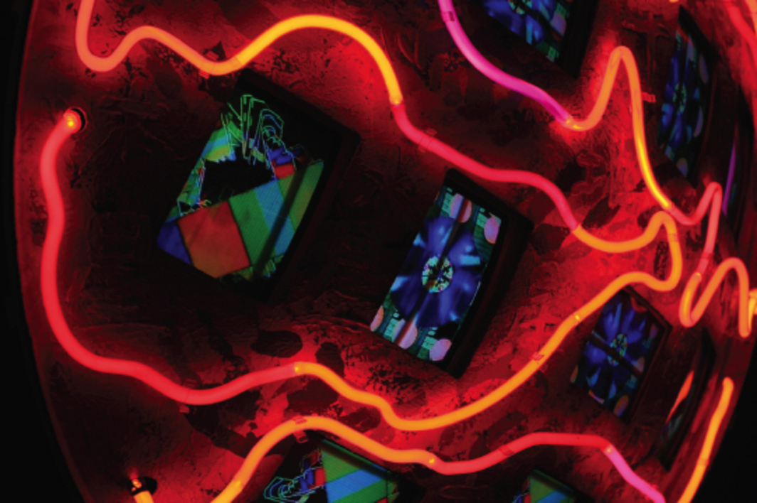 Nam June Paik, Mercury (detail), 1991, twelve monitors, two-channel video, neon. Photo: Sascha Dressler.