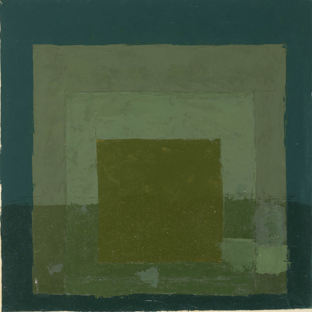 "Josef Albers, Colour Study for Homage to the Square, n.d., oil on blotting paper, 16 x 12""."