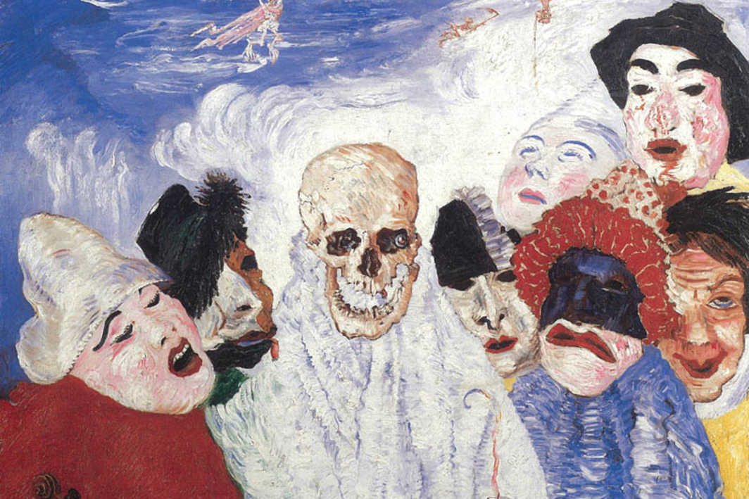 "James Ensor, Death and the Masks, 1897, oil on canvas, 30 x 39""."