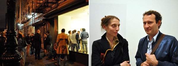 Left: Outside Rachel Uffner Gallery. Right: Artists Jutta Koether and Thomas Eggerer. (All photos: Jude Broughan)
