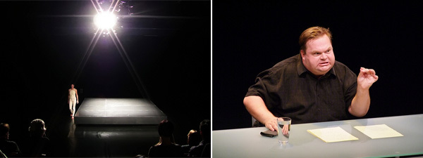 Left: View of Maria Hassabi's SoloShow. (Photo: Rio) Right: View of Mike Daisey's The Agony and the Ecstasy of Steve Jobs. (Photo: Gordon Wilson)