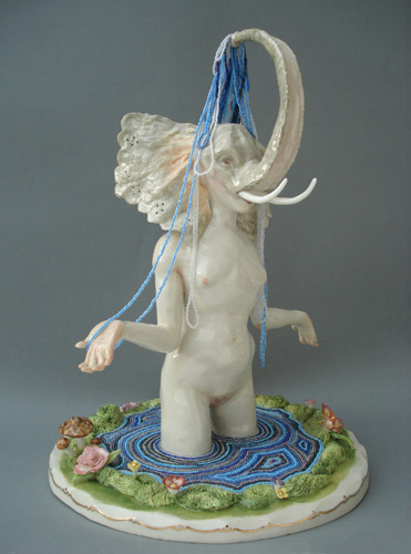 "Shary Boyle, Live Old, 2009, porcelain, china paint, beads, luster glaze, 12 x 10 x 8 1/2""."