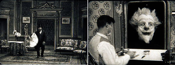 Left: Segundo de Chomón, Les Cent Trucks (One Hundred Trucks), 1906, still from a black-and-white film, 3 minutes. Right: Segundo de Chomón, Ah! La barbe (Ah! The Beard), 1905, still from a black-and-white film, 2 minutes.