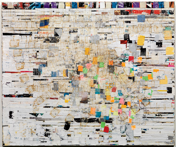 "Mark Bradford, The Some of Its Parts, 2004, billboard paper, photomechanical reproductions, acrylic gel medium, curlpapers, acrylic paint, additional mixed media on canvas, 60 x 70""."