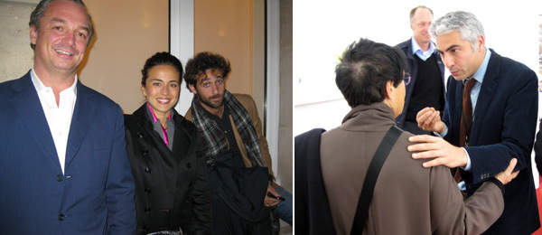 Left: Gagosian directors Stefan Ratibor, Victoria Gelfand and Sam Orlofsky. Right: Collector Mera Rubell with dealer Frank Elbaz.