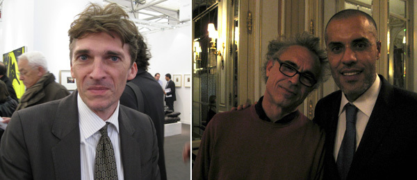 Left: Curator Nicolas Bourriaud. Right: Artist Michel François with dealer Kamel Mennour.