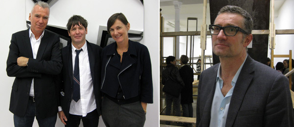 Left: Dealer Patrick Seguin, artist Jim Lambie, and dealer Sadie Coles. Right: Artist Thomas Hirschhorn.