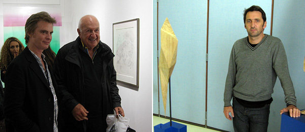 Left: Dealer Tim Nye with collector Don Rubell. Right: Artist Xavier Veilhan.