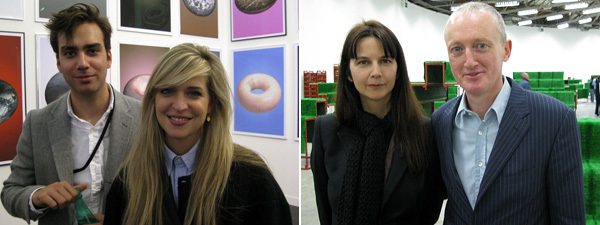Left: Karma International's Niels Olsen and Marina Leuenberger. Right: Artists Gillian Wearing and Michael Landy.