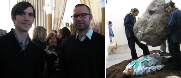 Left: FIAC guest curator Chris Fitzpatrick and artist Pablo Pijnappel. Right: William Pope.L performance at Mitchell, Innes & Nash at FIAC's Grand Palais.