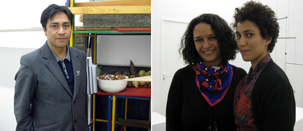 Left: Artist Abraham Cruzvillegas. Right: Labor Gallery's Pamela Echeverria and Yasmine Dubois.