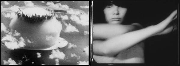 Left: Bruce Conner, A Movie, 1958, still from a black-and-white film in 16 mm, 12 minutes. Right: Bruce Conner, Breakaway, 1966, still from a black-and-white film in 16 mm, 5 minutes. (All stills courtesy of The Conner Family Trust.)