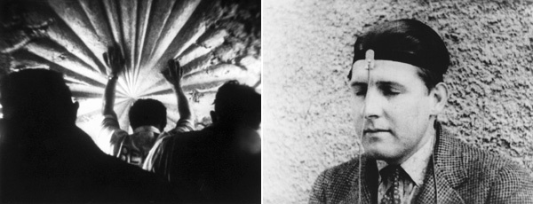 Left: Bruce Conner, The White Rose, 1967, still from a black-and-white film in 16 mm, 7 minutes. Right: Bruce Conner, Mongoloid, 1978, still from a black-and-white film in 16 mm, 3 minutes 30 seconds.