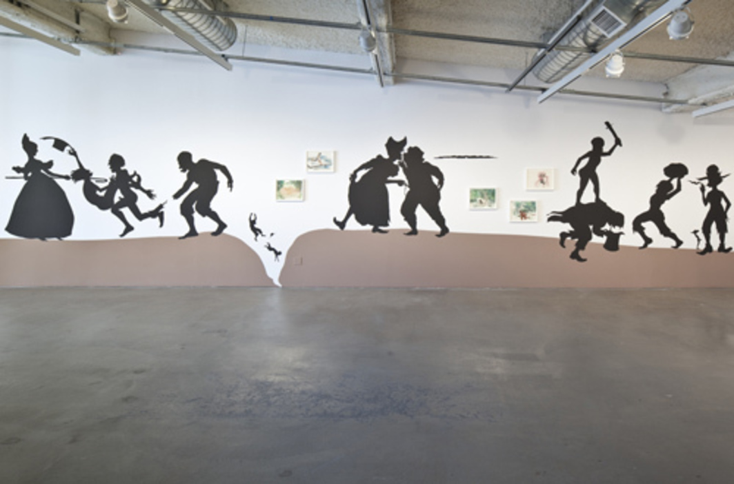 Kara Walker, The Nigger Huck Finn Pursues Happiness Beyond the Narrow Constraints of your Overdetermined Thesis on Freedom—Drawn and Quartered by Mister Kara Walkerberry, with Condolences to The Authors, 2010, cut paper and eight framed gouache paintings, dimensions variable.