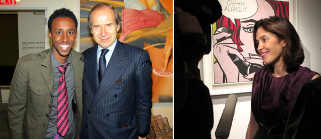 Left: Artist Abdi Farah with Simon de Pury. Right: Amy Cappellazzo, Christie's international co-head of postwar and contemporary art. (Photos: David Velasco)