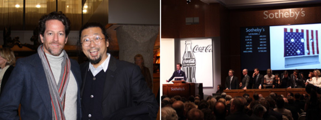 Left: Dealer Tim Blum with artist Takashi Murakami. Right: Tobias Meyer at Sotheby's. (Photos: Erika Nusser)