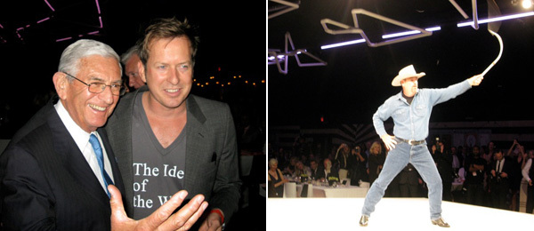 Left: Collector Eli Broad with artist Doug Aitken. Right: A cowpuncher at the LA MoCA gala. (All photos: Linda Yablonsky)