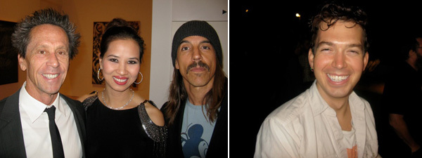 Left: Producer Brian Grazer, pianist Chau-Giang-Thi Nguyen, and musician Anthony Kiedis. Right: Artist Ryan Trecartin.