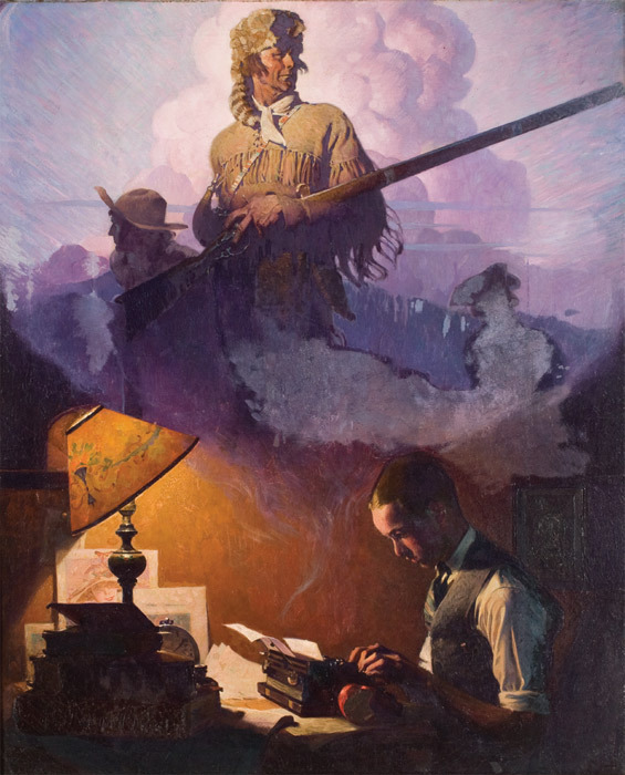 "Norman Rockwell, —And Daniel Boone Comes to Life on the Underwood Portable, 1923, oil on canvas, 36 x 28""."