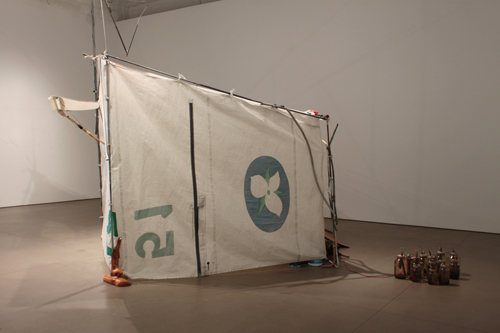 Kara Uzelman, Field Tent and Antenna, 2010, nylon sails, aluminium poles, wood, twine, bolts, dimensions variable. Installation view.