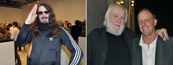 Left: Artist Jonathan Meese. Right: Artist John Baldessari and collector Jason Rubell. (Except where noted, all photos: Andy Guzzonatto)