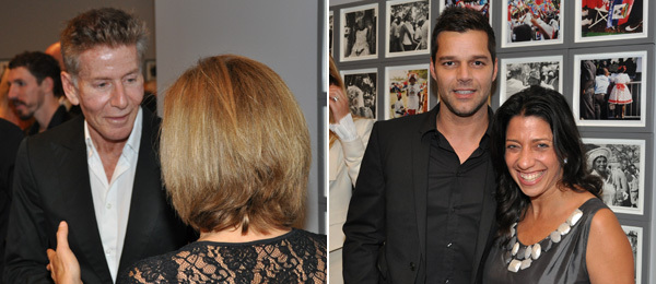 Left: Calvin Klein with Bonnie Clearwater, director of the Museum of Contemporary Art, North Miami. Right: Ricky Martin with LAND's Lisa Anastos.