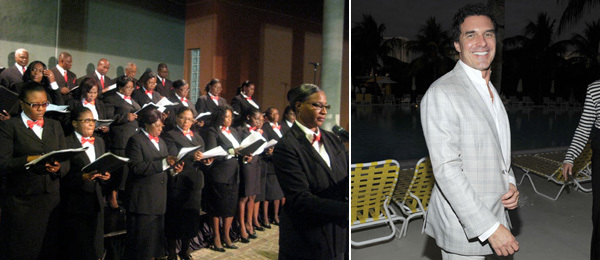 Left: The Haitian choir. (Photo: Linda Yablonsky) Right: Hotelier André Balazs. (Photo: Patrick McMullan)