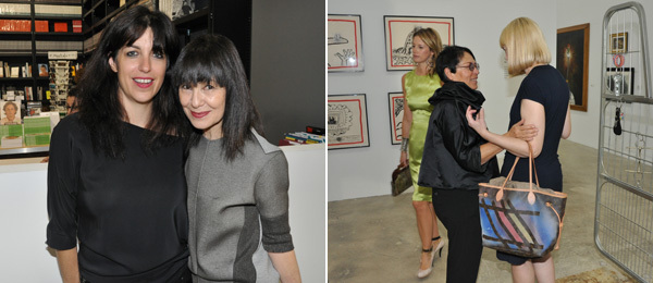 Left: Jennifer Rubell with Performa director RoseLee Goldberg. Right: Mera Rubell with dealer Elizabeth Dee.