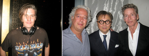 Left: Artist Nate Lowman. Right: Collector Aby Rosen, Michael Chow, and Calvin Klein.