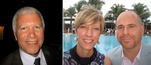 Left: Dealer Larry Gagosian. Right: Art Basel co-directors Annette Schönholzer and Marc Spiegler.