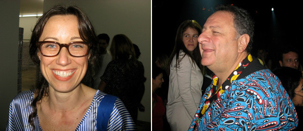 Left: Artist Kathryn Andrews. Right: Artco's Cary Leitzes and collector Jean Pigozzi.