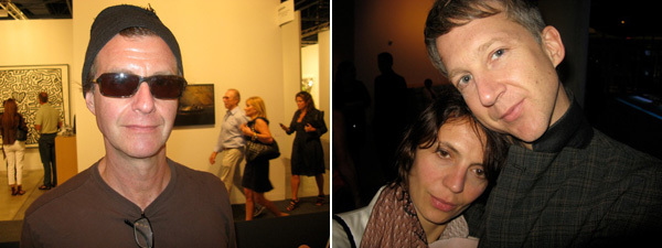 Left: Artist John Kessler. Right: Nowness editor Zoe Wolff with AnOther Magazine editor Jefferson Hack.