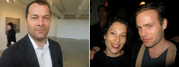 Left: Dealer Andrew Kreps. Right: Hammer Museum curator Ali Subotnik with artist Ryan Sullivan.