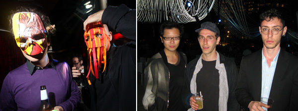 Left: Guests in masks at Le Baron. (Photo: Jipsy) Right: Curator Carson Chan and AIDS-3D's Daniel Keller and Nik Kosmas. (Photo: Kate Sutton)