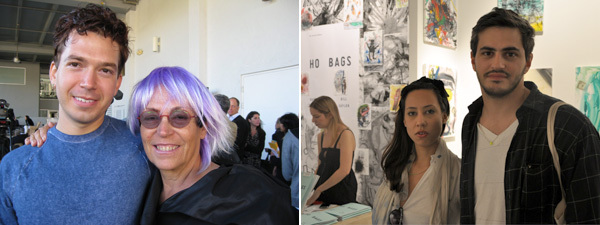 Left: Artist Ryan Trecartin with collector Mera Rubell. (Photo: Kate Sutton) Right: Nektar De Stagni and artist Martin Oppel. (Photo: Andy Guzzonatto)
