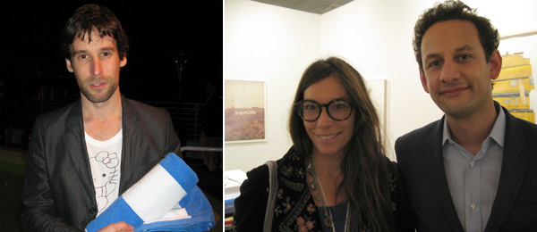 Left: Artist Olaf Breuning. Right: Dealer Lisa Spellman and CCA Wattis director Jens Hoffmann. (Photos: Kate Sutton)