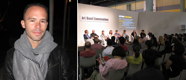 "Left: Artist Daniel Arsham. Right: ""The School Makers"" at Art Basel Conversations. (Photos: Kate Sutton)"