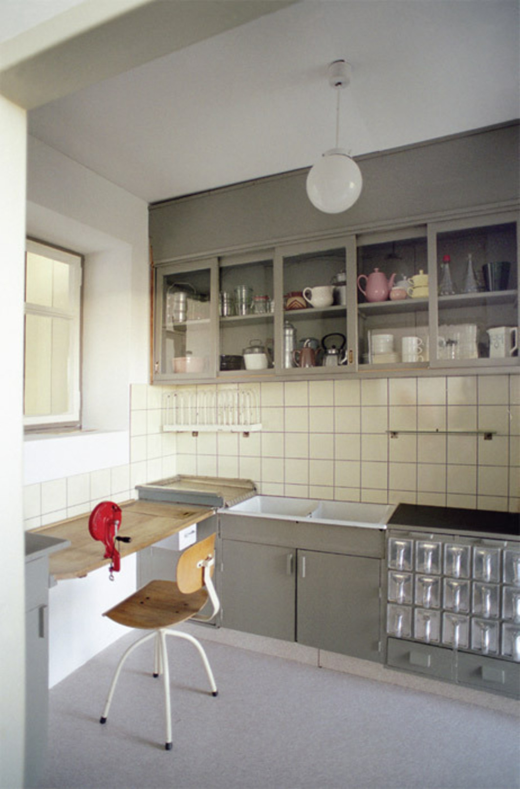 "Margarete Schütte-Lihotzky, Frankfurt Kitchen from the Ginnheim-Höhenblick Housing Estate (reconstruction), 1926–27, Frankfurt, 8' 9"" x 12' 10"" x 6' 10""."