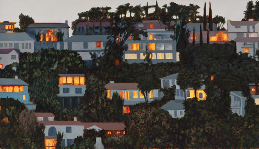 "William Leavitt, Hillside Lights (Incandescent) (detail), 2004, oil on canvas, 24 x 60""."