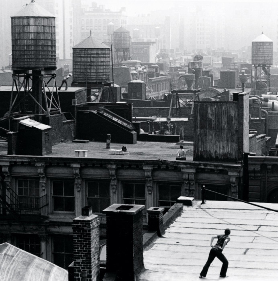 Trisha Brown performing Roof Piece, New York, 1971. Photo: Babette Mangolte.