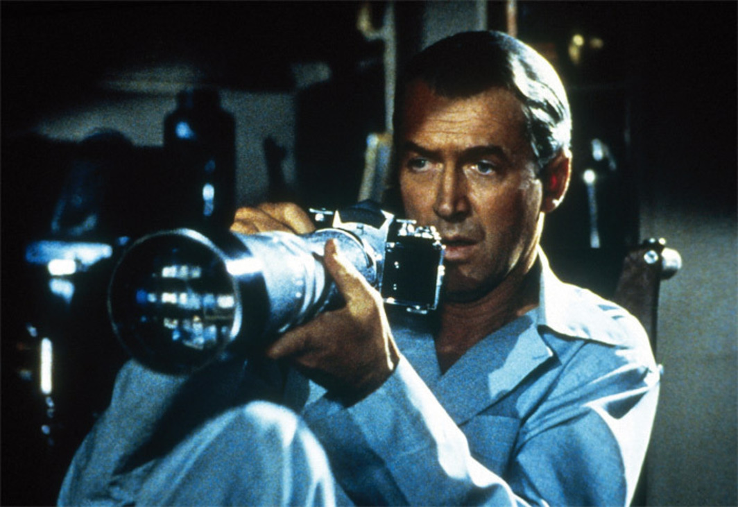 "Alfred Hitchcock, Rear Window, 1954, color film in 35 mm, 112 minutes. Production still. L. B. ""Jeff"" Jeffries (James Stewart)."