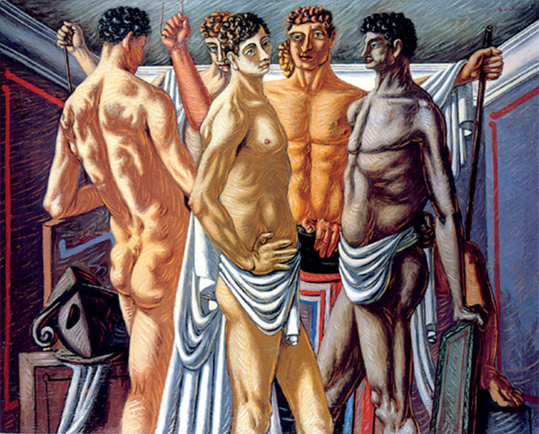 "Giorgio de Chirico, Gladiateurs au repos (Gladiators at Rest), 1928–29, oil on canvas, 617⁄8 x 78"". Estate of Giorgio de Chirico/Artists Rights Society (ARS), New York/SIAE, Rome."