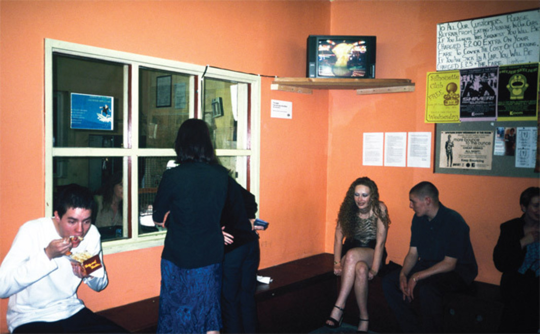 View of Nina Könnemann, The Apple in the Eye of the Worm, 2000, color video (on monitor). Apple Car Service, Hull, UK.