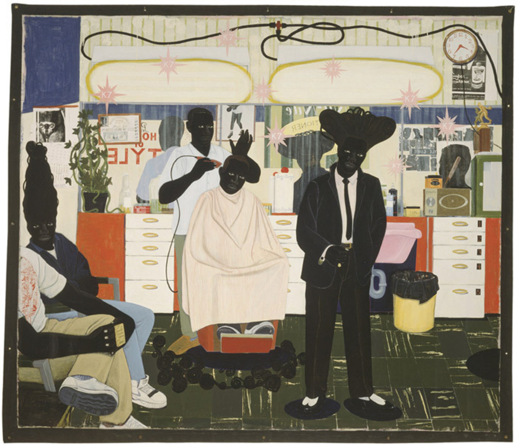 "Kerry James Marshall, De Style, 1993, acrylic and collage on canvas, 8' 8"" x 10' 2""."