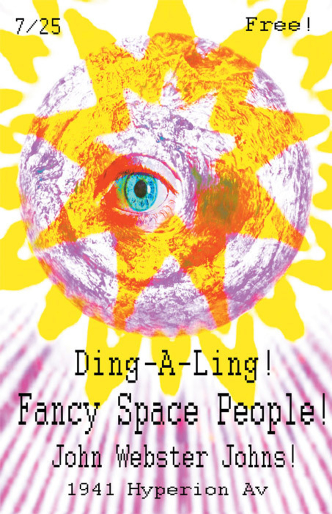 *Flyer for July 25 Club Ding-a-Ling party, Los Angeles, designed by Nora Keyes, 2009.*