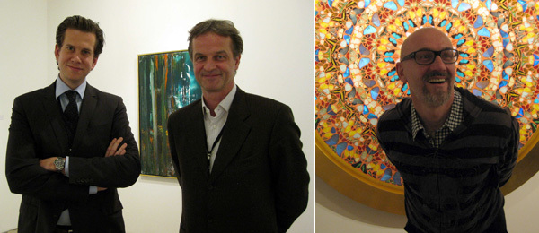 Left: Dealers Leo Koenig and Gerald Winckler. Right: Artist Oleg Kulik. (Except where noted, all photos: Kate Sutton)